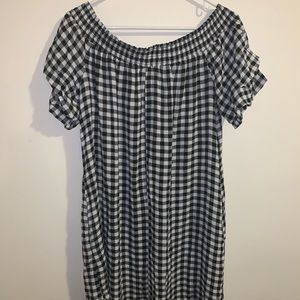 Off the shoulder, ruffled sleeve, checkered dress
